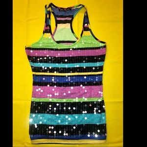 Pretty striped multi colored tank top with sequins